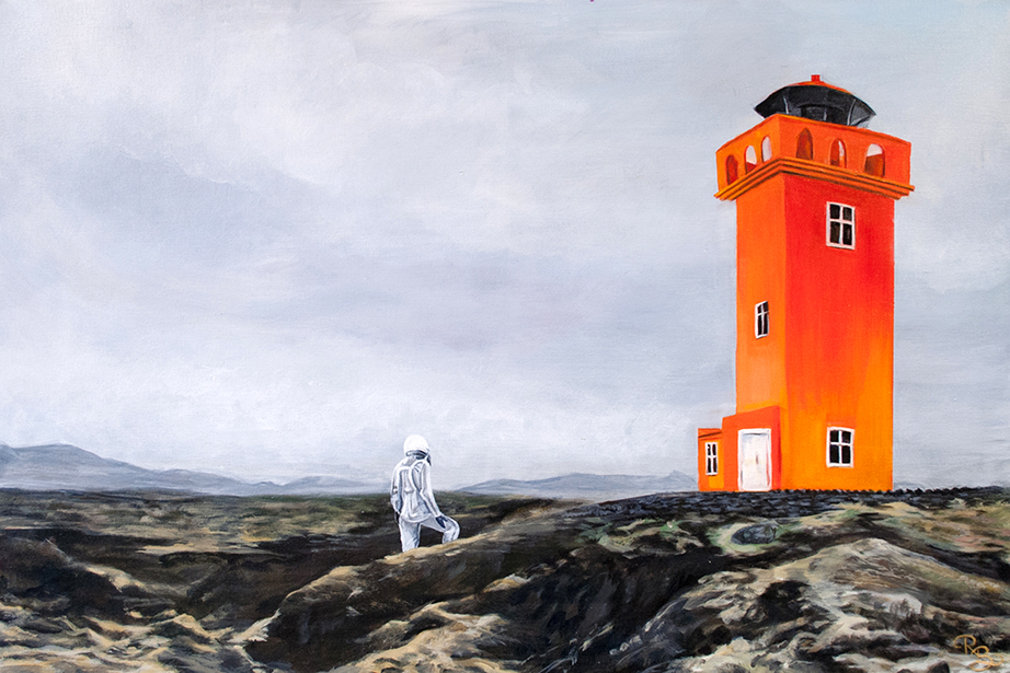 astronaut walking towards a bright orange lighthouse across rocky terrain