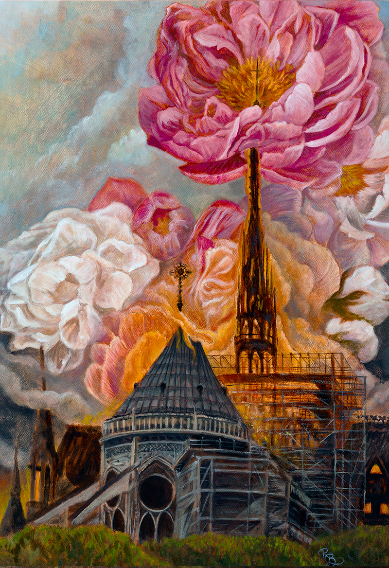 The Notre Dame cathedral burning. The smoke from the fire is transforming into pink and white peonies. A single coral peony sits on top of the tallest spire impaled by the cross which is commingling with the stamen.