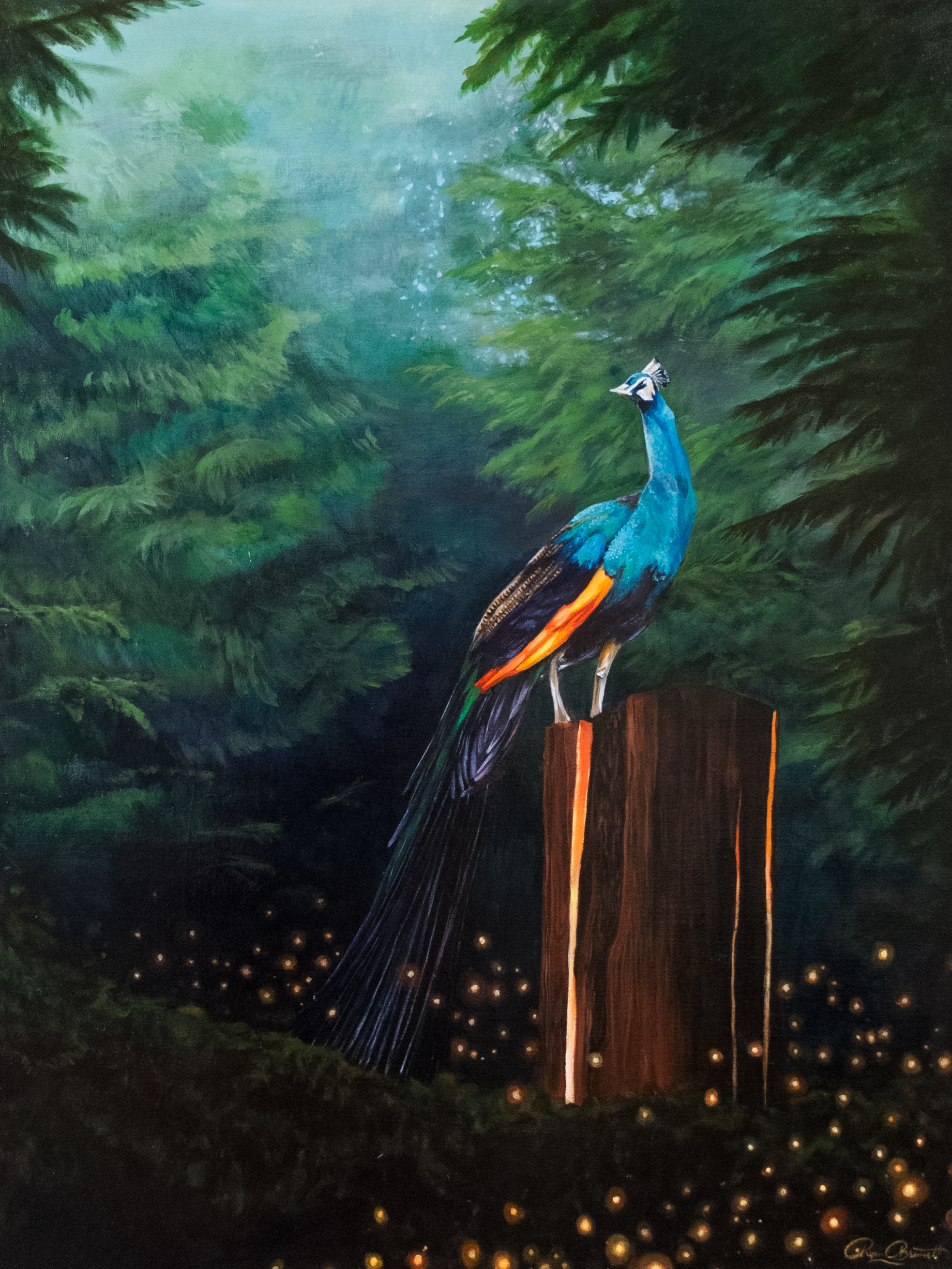 peacock standing on top of a stump inlaid with glowing lights surrounded by trees and forest scenery with a stream of fireflies drifting throughout