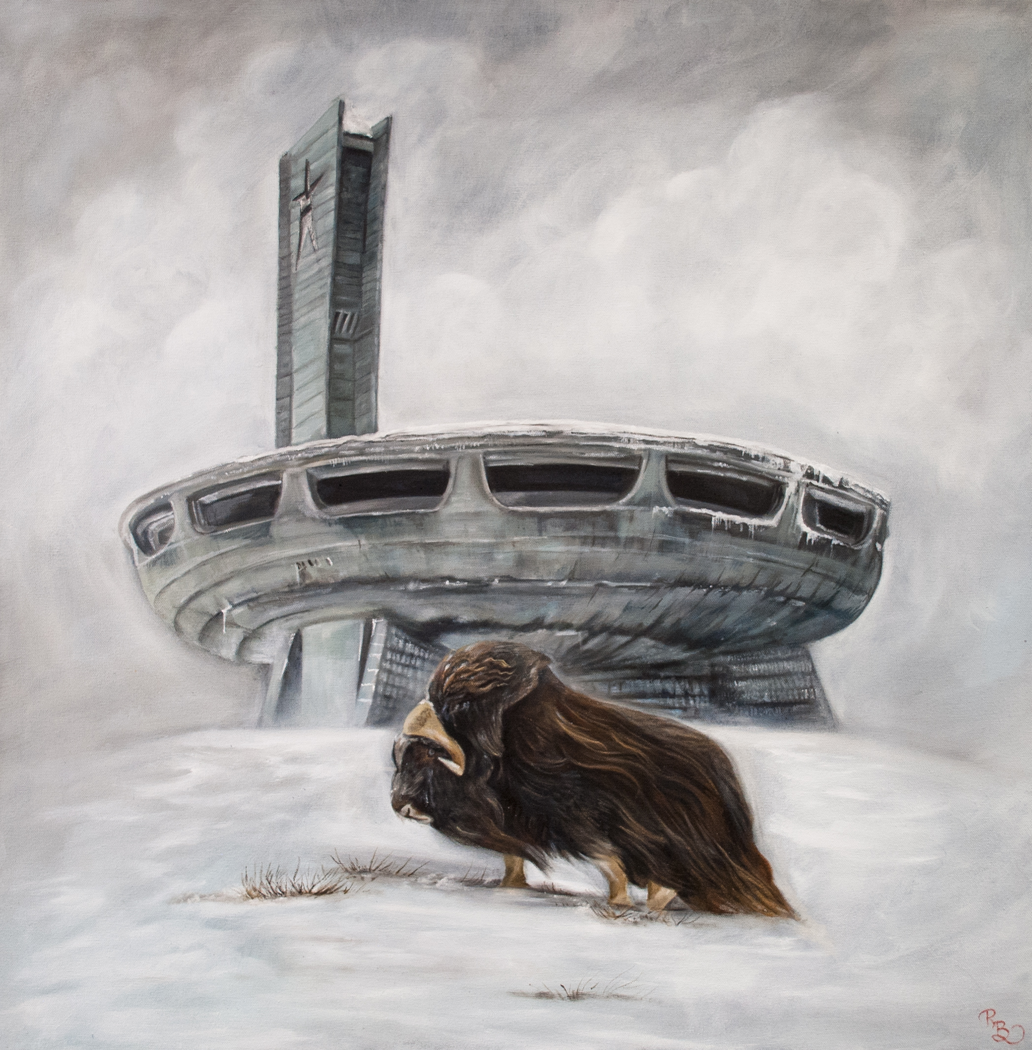 single musk ox in the middle of a blizzard with a Soviet Union military base in the background