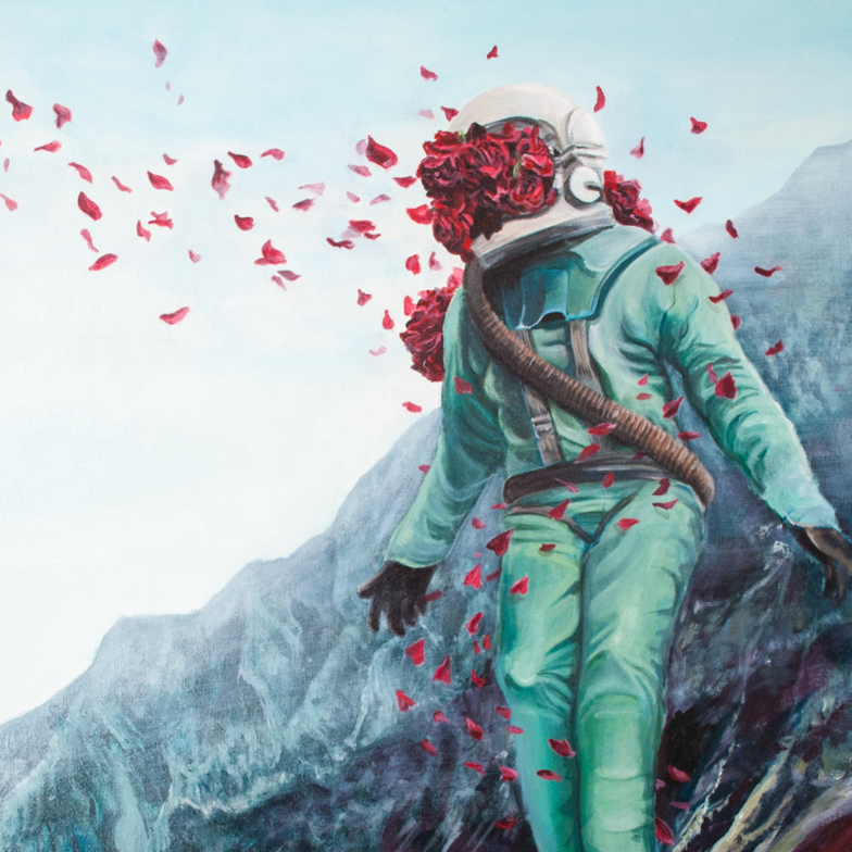 levitating astronaut with a helmet exploding with flowers placed in a mountainous terrain