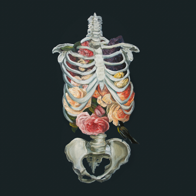 Bouquet of flowers trapped inside of a ribcage accompanied by a small black and yellow bird